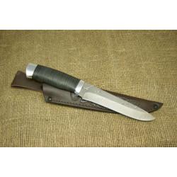 Нож Н1Т - Сталь контрастный дамаск. Рукоять кожа,алюминий