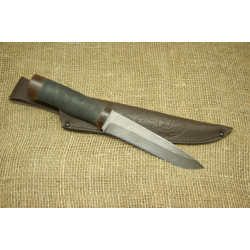 Нож Н1Т - Сталь черный дамаск. Рукоять резина, текстолит