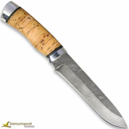 Нож Н1Т - Сталь черный дамаск. Рукоять береста,алюминий