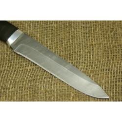 Нож Н1Т - Сталь черный дамаск. Рукоять резина, алюминий