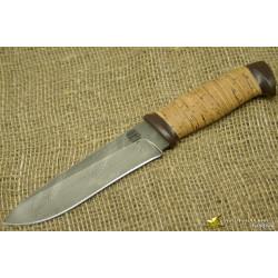 Нож Н1 - Сталь чёрный дамаск, рукоять береста, текстолит