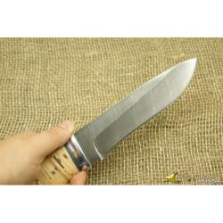 Нож Н1 - Сталь чёрный дамаск, рукоять береста, дюраль