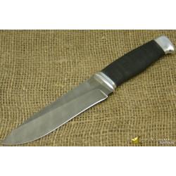 Нож Н1 - Сталь чёрный дамаск, рукоять резина, дюраль