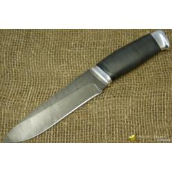Нож Н1 - Сталь чёрный дамаск, рукоять кожа, дюраль