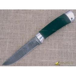 Нож из дамаска Н14. Рукоять - микропора, алюминий