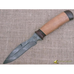 Нож из дамаска Н21. Рукоять - орех, текстолит