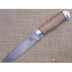 Нож из дамаска Н61. Рукоять - орех, алюминий